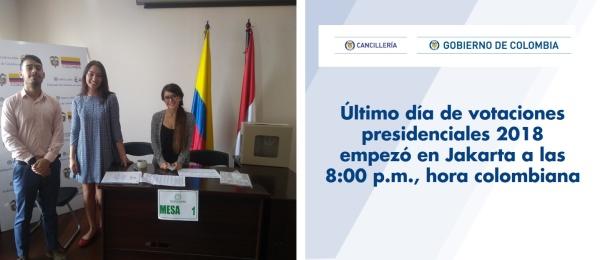 Último día de votaciones presidenciales 2018 empezó en Jakarta a las 8:00 p.m., hora colombiana